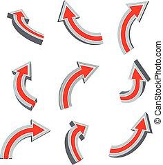 セット, 赤い矢印, 3d