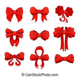 セット, 赤, 贈り物, 大きい, ribbons., ベクトル, イラスト, お辞儀をする