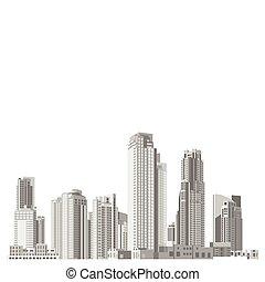 セット, 超高層ビル, ファサド, ベクトル, 建築, 多様
