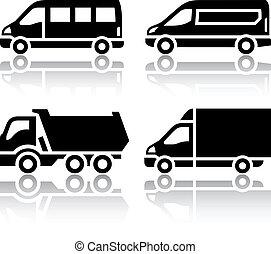 セット, -, 輸送, 貨物, アイコン