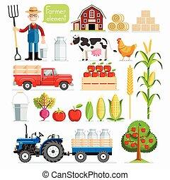 セット, 農場, animals., ベクトル, 農夫, element., illustrations.