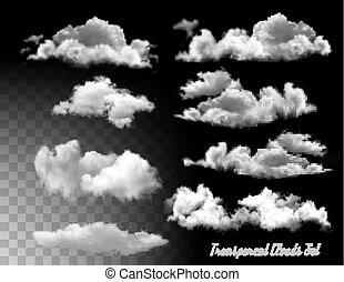 セット, 透明, vector., clouds.