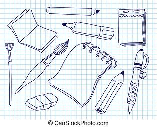 セット, 道具, オフィス