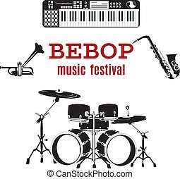 セット, 道具, ジャズ, ベクトル, 音楽, bebop