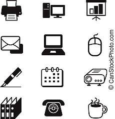セット, 道具, ビジネスオフィス, アイコン