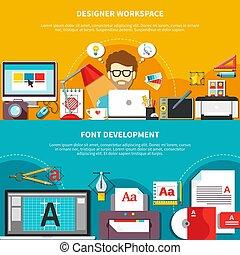 セット, 道具, 構成, デザイナー