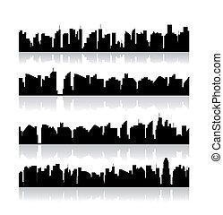 セット, 都市, silhouettes., ベクトル