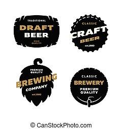 セット, 醸造, ロゴ, emblem.