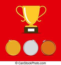 セット, 金のコップ, アイコン, 勝利, ベクトル, メダル