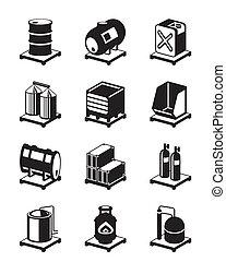 セット, 金属, 容器, アイコン