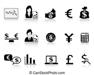 セット, 金融, &, アイコン, 黒, 経済