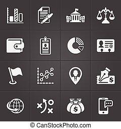 セット, 金融, ビジネス アイコン, ベクトル, 黒, 3.
