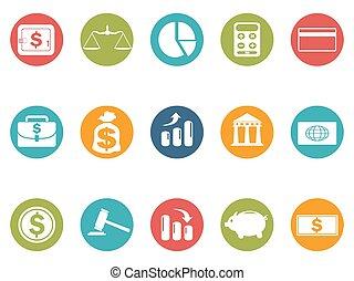セット, 金融, ビジネス アイコン, ボタン, ラウンド