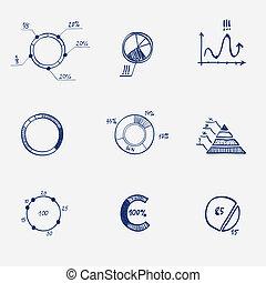 セット, 金融, ビジネス, グラフ, -, チャート, パイ, 図, 概念, infographics, draw., 円, 手, いたずら書き