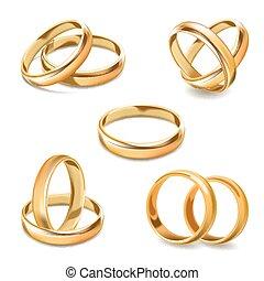 セット, 金, アイコン, リング, 現実的, ベクトル, 結婚式, 対, 3d