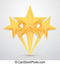 セット, 金, ベクトル, 5, ra, 星, icon., template., 最も良く, アイコン