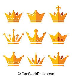 セット, 金, 家族, アイコン, 国王の王冠