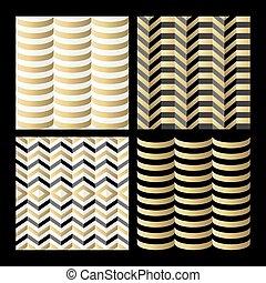 セット, 金, 幾何学, パターン, 抽象的, seamless, レトロ