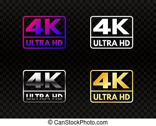 セット, 金, 色, 高く, ビデオ, ラベル, バックグラウンド。, uhd, フルである, 背景。, シンボル, イラスト, 暗い, 透明, hd, アイコン, 定義, collection., mark., ベクトル, 4k, silver., ultra, 決断