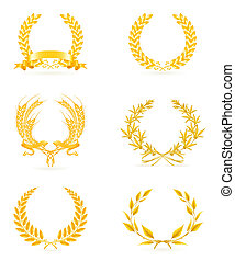 セット, 金, 花輪, eps10