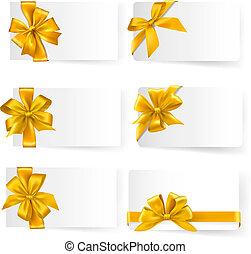 セット, 金, 贈り物, お辞儀をする, vector., ribbons.