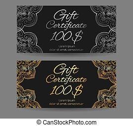 セット, 金, 贈り物, 型, pattern., バウチァ, 要素, ベクトル, デザイン, 贅沢, 証明書, あなたの, 銀