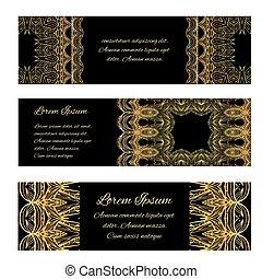 セット, 金, 贈り物, 型, pattern., バウチァ, 銀, ベクトル, デザイン, 贅沢, 証明書, 旗, 要素, あなたの