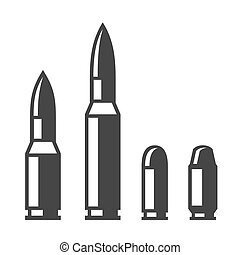 セット, 銃弾, アイコン, 武器, 隔離された, バックグラウンド。, ベクトル, 白