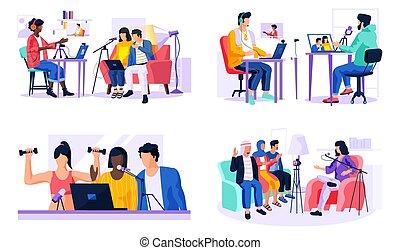 セット, 録音, webcam, ラップトップ, メッセージ, マイクロフォン, 人々, ビデオ, について, 4, 現場