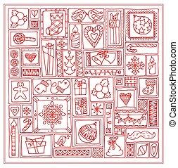 セット, 鐘, 木, デザイン, 甘いもの, いたずら書き, 雪片, pattern., バックグラウンド。, テンプレート, 引かれる, 幾何学的, クリスマス, 長方形, 柑橘類, 手, 贈り物, カード, 蝋燭, frames., 赤, 心