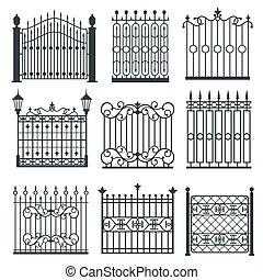 セット, 門, 格子, 金属, ベクトル, 鉄, フェンス