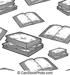 セット, 開いた, pattern., 積み重ねられた, 本, seamless, 3, book.