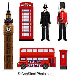 セット, 隔離された, イラスト, 伝統的である, ベクトル, ロンドン, white., 観光