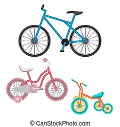 セット, 隔離された, イラスト, 現実的, bicycles, ベクトル, 白