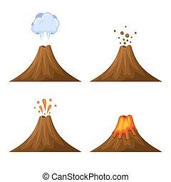 セット, 隔離された, バックグラウンド。, ベクトル, 火山, 白, アイコン
