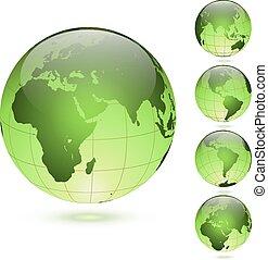 セット, 隔離された, バックグラウンド。, 緑, グロッシー, 地球儀, 白