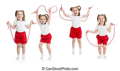 セット, 隔離された, ロープ, 跳躍, 子供, 女の子