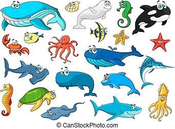 セット, 隔離された, 動物, 海洋, 漫画, アイコン
