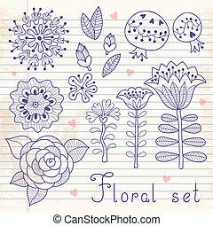 セット, 隔離された, 要素, 花, あなたの, design.