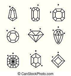 セット, 隔離された, crystals., white., ダイヤモンド, 水晶, 幾何学的