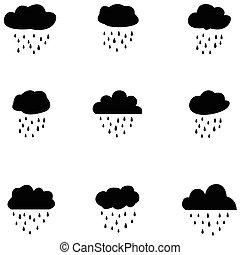 セット, 雨, アイコン