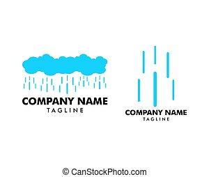 セット, 雨, ベクトル, デザイン, テンプレート, ロゴ