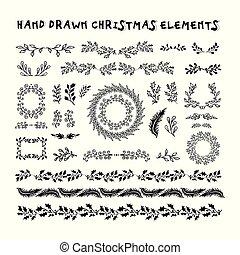 セット, 雪片, カラフルである, アイコン, ホリデー, バックグラウンド。, ベクトル, デザイン, ベージュ, 年, 新しい, クリスマス, 要素