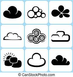 セット, 雲, アイコン