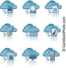 セット, 雲, サービス, アイコン