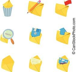 セット, 電子メール, スタイル, 漫画, アイコン