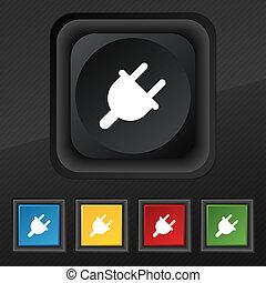 セット, 電気である, 力, エネルギー, シンボル, 手ざわり, カラフルである, ボタン, 黒, 流行, 5, デザイン, あなたの, アイコン, プラグ