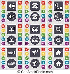 セット, 電話, 家, あなたの, design., 平ら, ボリューム, 拡大する, ボタン, レトロ, キーボード, 引用, 音, 本, シンボル。, カクテル, ガラス, アイコン, 有色人種, 印, 大きい, ベクトル