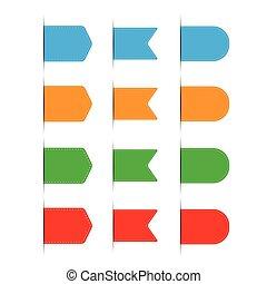 セット, 青, -, ベクトル, オレンジ, 緑, リボン, 赤