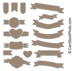 セット, 革, 型, ラベル, 紋章, リボン, 幾何学的